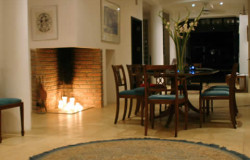 The dining room and the fire place